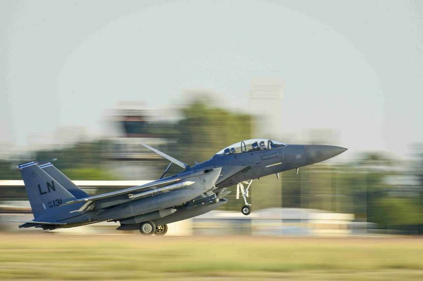 A US Air Force F-15E Strike Eagle landing at Incirlik Air Base in Turkey after conducting anti-ISIS operations, on Nov 12, 2015.