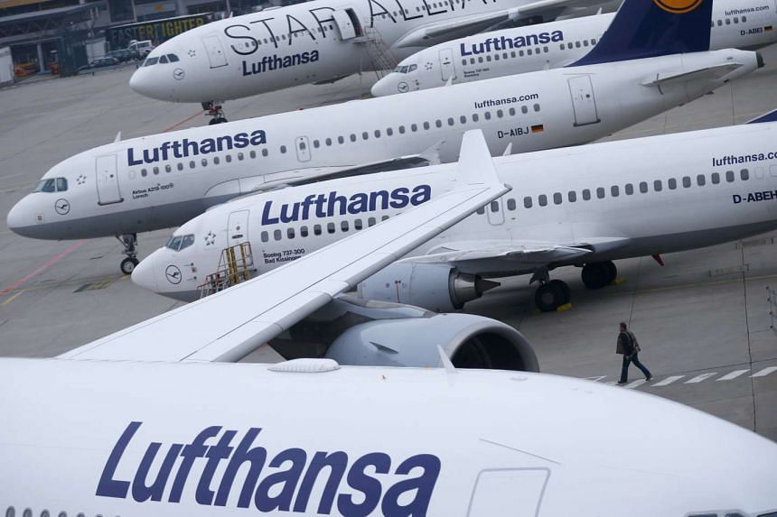 File photo of Lufthansa airplanes parked on the tarmac at Frankfurt airport, Germany, Nov 13, 2015.
