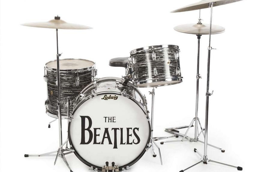An undated handout image provided by Julien's auction house on Dec 5, 2015 shows a drum kit played by Ringo Starr on Beatles.