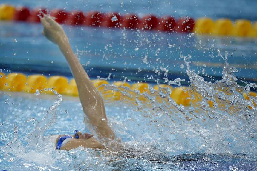 Yip Pin Xiu, swimming the backstroke, wins the silver medal in the 8th Asean Para Games Women's 50m Freestyle S5 (S2-S5) Timed Finals.