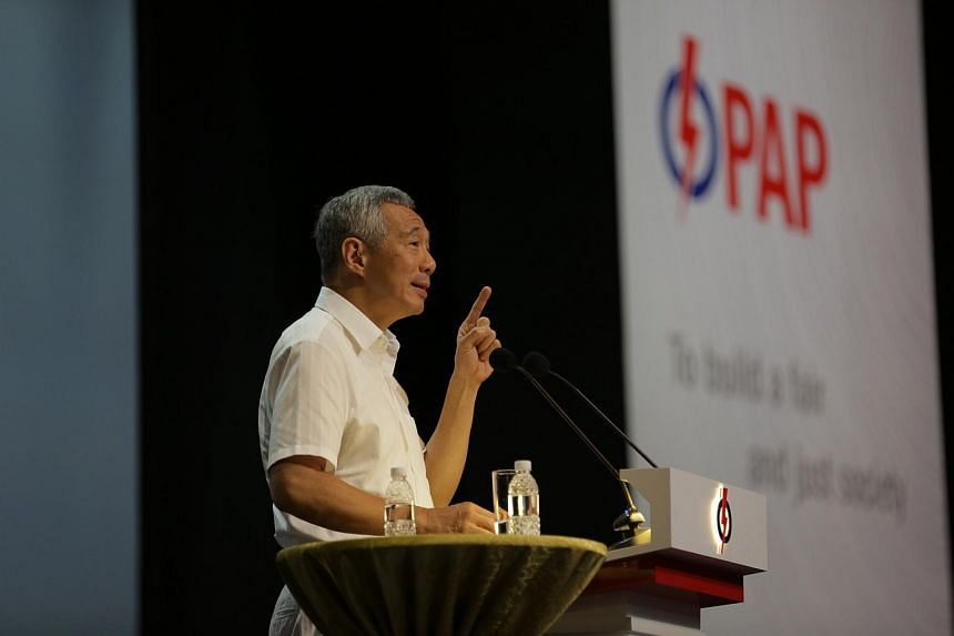 PM Lee Hsien Loong at his opening address during the PAP Convention 2015 at the Singapore Expo.