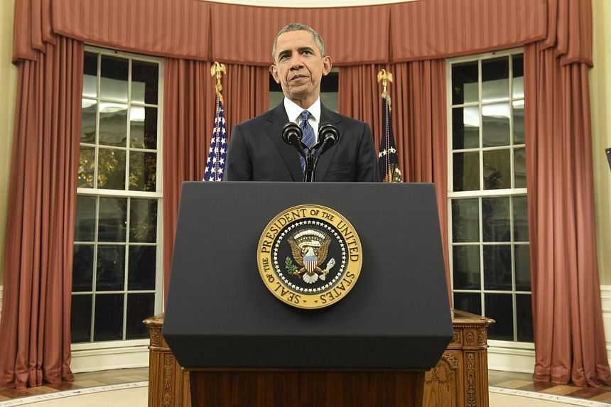 US President Barack Obama speaking during an address to the nation from the Oval Office of the White House.