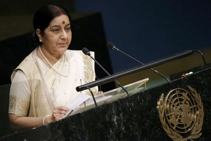 Indian Foreign Minister Sushma Swaraj at the  United Nations General Assembly on Oct 1, 2015.