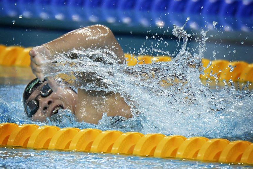 Swimmer Theresa Goh competing during the women's 50m Freestyle S5 finals on Dec 7, 2015.