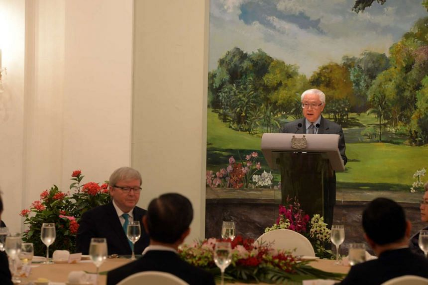 President Tony Tan Keng Yam speaking at the Asia Rising Dialogue at the Istana on Dec 7, 2015.