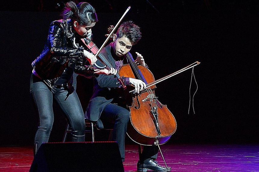 The Sugar Rush Crew dance to Iskandar Ismail's A World To Imagine. Indonesian violinist Clarissa Tamara, 16, and Singaporean cellist Lubin Chee (above), 18, play the main theme from TV show Game Of Thrones.