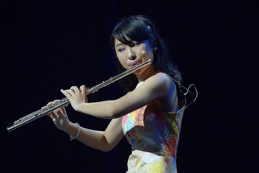 Japanese flautist Kanon Honda, 13, plays Jeremy Monteiro's Samba Appasionata.