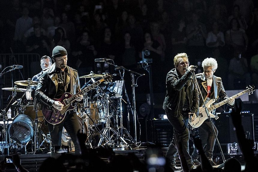 From left: Larry Mullen, the Edge, Bono and Adam Clayton of U2 performing at Madison Square Garden in New York in July.
