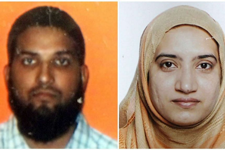 Syed Farook (left) in a photo from a student ID and his wife, Tashfeen Malik. in a photo released by the FBI.