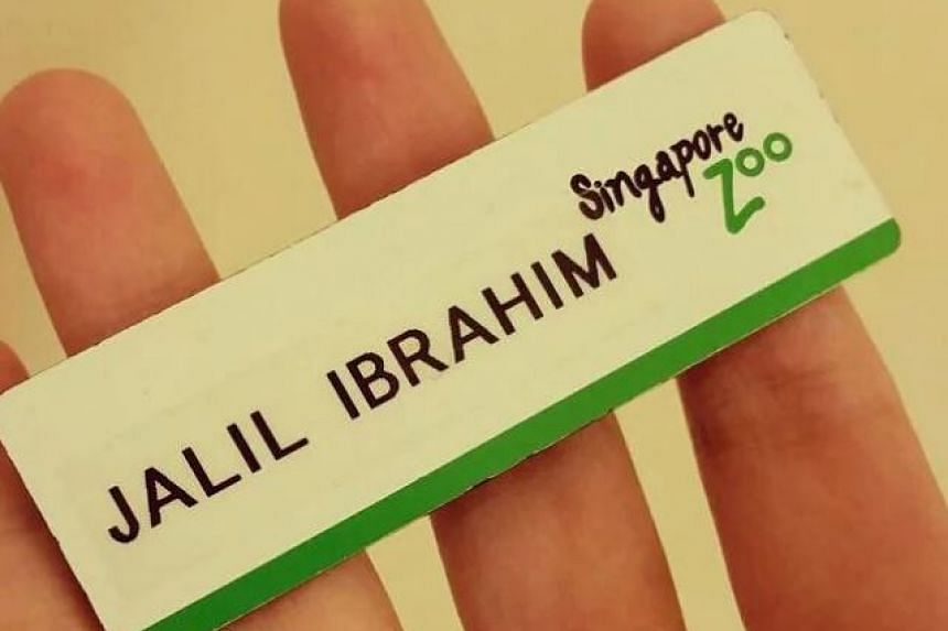 The name tag that the late Johor Prince wore during the year he volunteered at the Singapore Zoo.