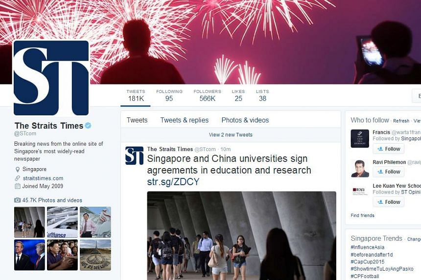 With around 566,000 followers, The Straits Times remains the top Singapore news outlet on Twitter in 2015.
