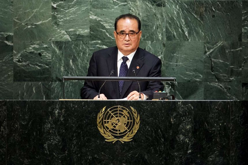 North Korea's Foreign Minister Ri Su Yong addresses attendees during the 70th session of the United Nations General Assembly at the UN Headquarters in New York, on Oct 1, 2015.
