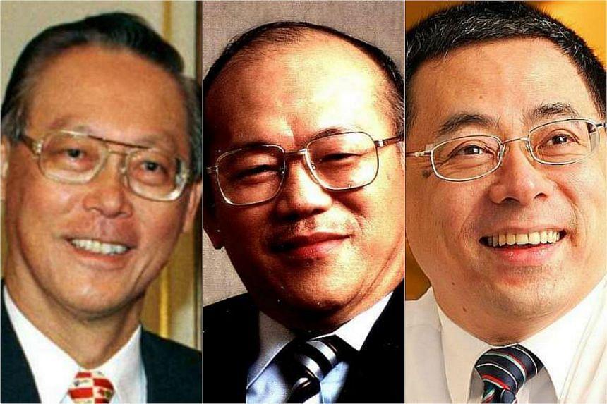 Former chiefs of NOL, Mr Goh Chok Tong (left), Mr Lua Cheng Eng (centre) and Mr David Lim.
