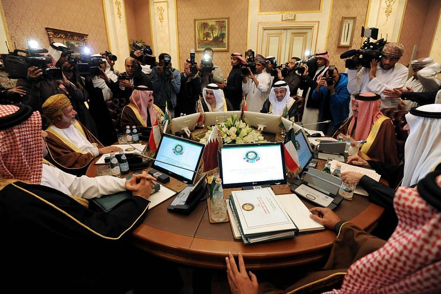 Gulf foreign ministers attend a meeting on Dec 7, 2015, in the Saudi capital Riyadh, a few days ahead of the Gulf Cooperation Council summit.