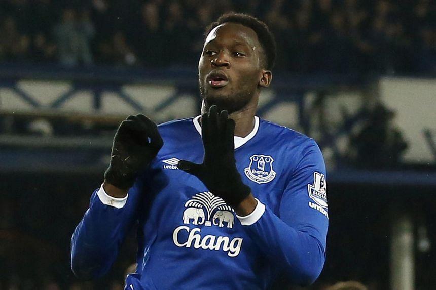 Everton's Romelu Lukaku celebrates scoring their first goal.