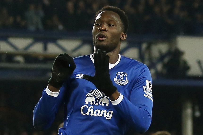 Everton's Romelu Lukaku celebrates scoring their first goal.