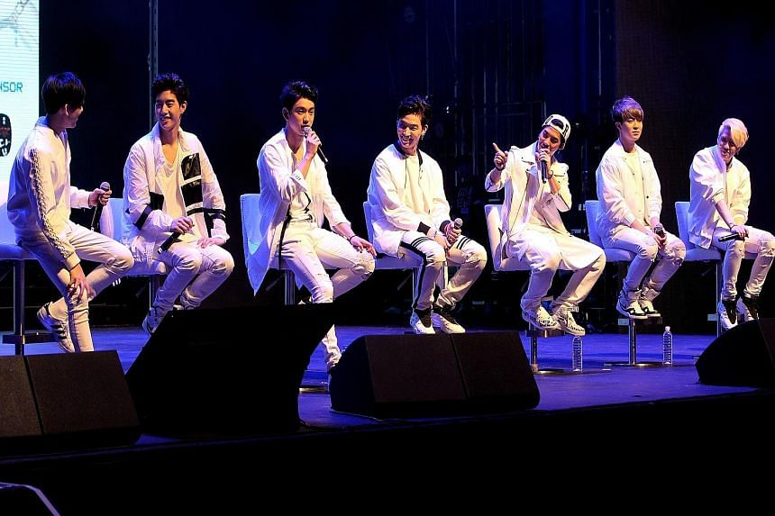 Members of K-pop boyband, Got7 - (from far left) BamBam, Mark, Jr, JB, Jackson, Youngjae and Yugyeom - at the press conference at Kallang Theatre in April.