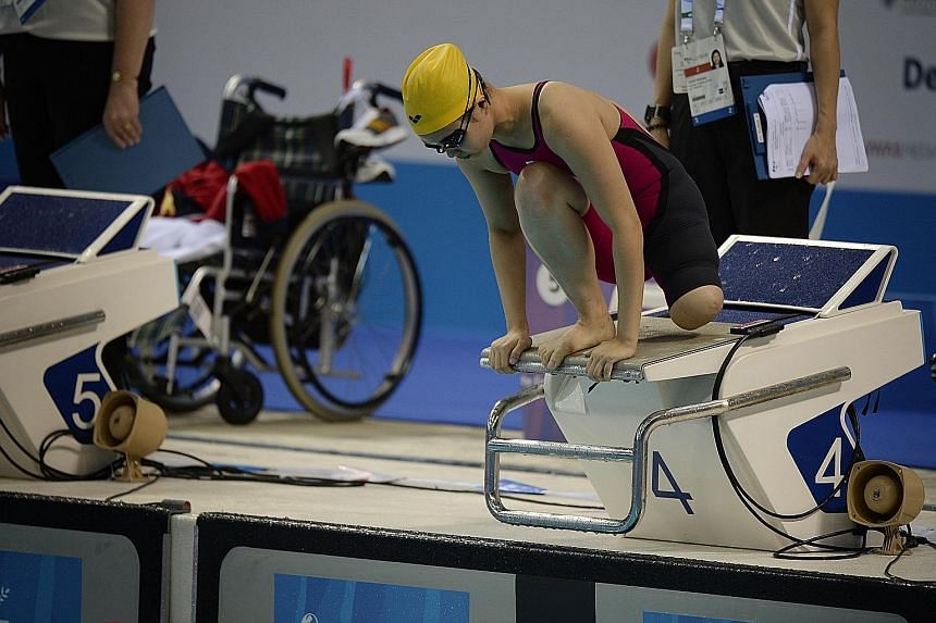 Malaysia's Yeo Yi Lin on the starting block before finishing eighth in the 50m free S9 yesterday. She has competed with great spirit despite suffering dizziness, back stiffness and double vision at these Games.