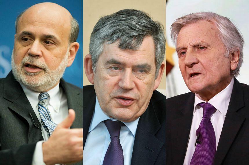 (From left) Former Federal Reserve chairman Ben Bernanke, ex-British prime minister Gordon Brown and former European Central Bank president Jean-Claude Trichet.