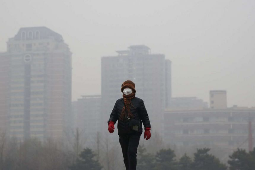 A woman wearing a protective mask taking a walk at a park on an extremely polluted day in Beijing, China on Dec 8, 2015.