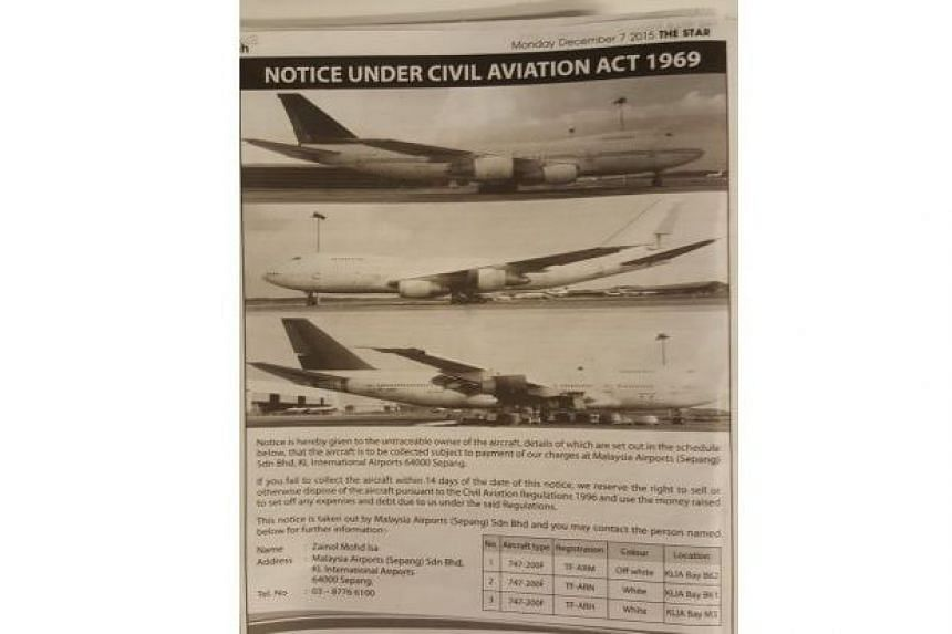 An advertisement taken out in The Star's classifieds section gave the unknown owner of three Boeing 747-200F aircraft 14 days to collect his planes.
