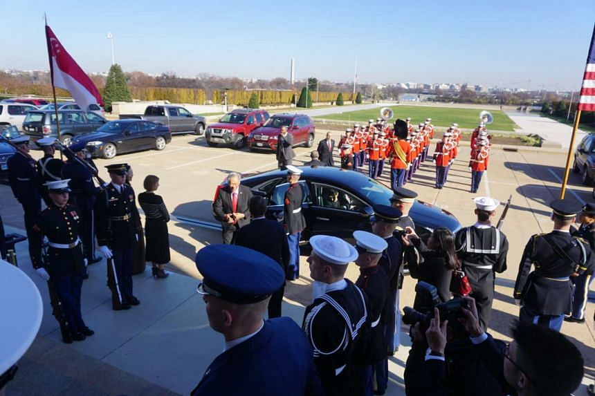 US Secretary of Defence Ash Carter hosted an enhanced honour cordon at the Pentagon on Monday to welcome visiting Singapore Defence Minister Ng Eng Hen.