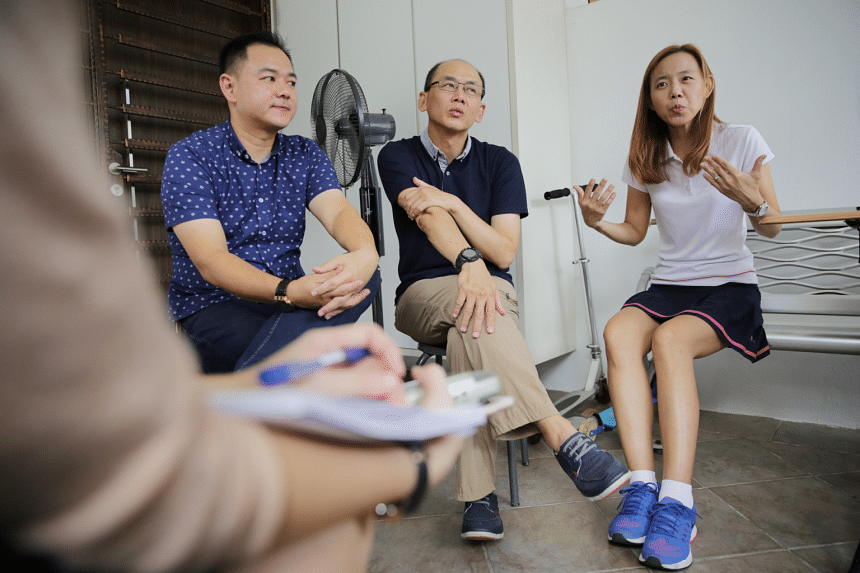 Mr Tan Boon Sin's younger son Chee Wee (left), daughter Siew Ling (right) and their uncle, Ong Boon Kok.