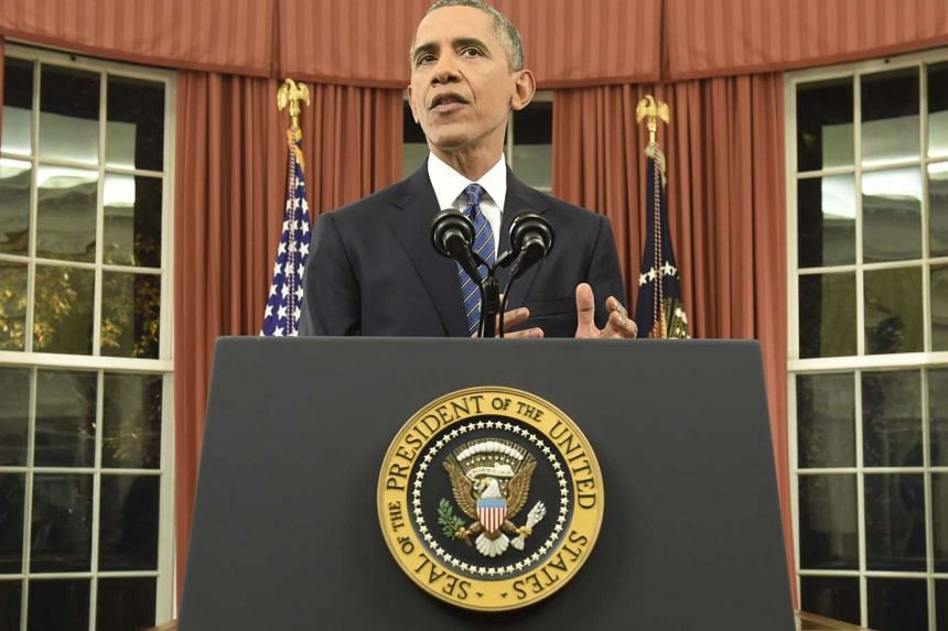 US President Barack Obama speaking during an address to the nation from the Oval Office of the White House on Dec 6, 2015.