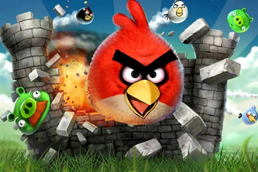 The opening screen of Angry Birds.