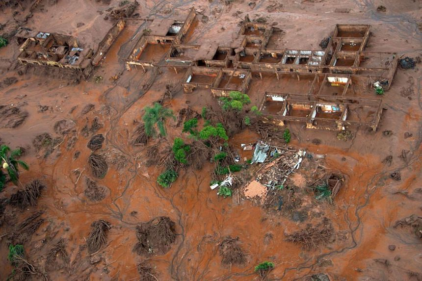 Aerial view of damages after a dam burst in the village of Bento Rodrigues, in Mariana, Minas Gerais state, Brazil on Nov 6, 2015.