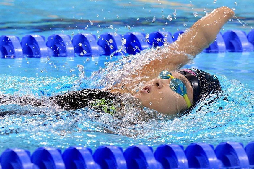 Thailand's Anchaya Ketkeaw swimming the backstroke leg of the 200m individual medley SM9 (SM5-SM9) event on Dec 8, 2015.