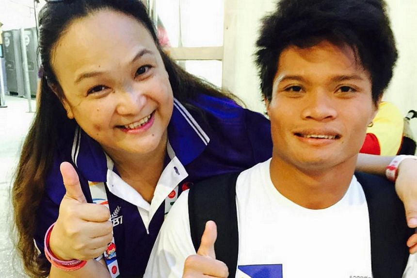 """Filipino swimmer Ernie Gawilan with supporter Malou Teves Mendoza-Venus. """"Congratulations Ernie Gawilan for the record breaking stint at the 8th Asean Para games in swimming that made your dream come true. God bless your journey to Rio Paralympics 20"""