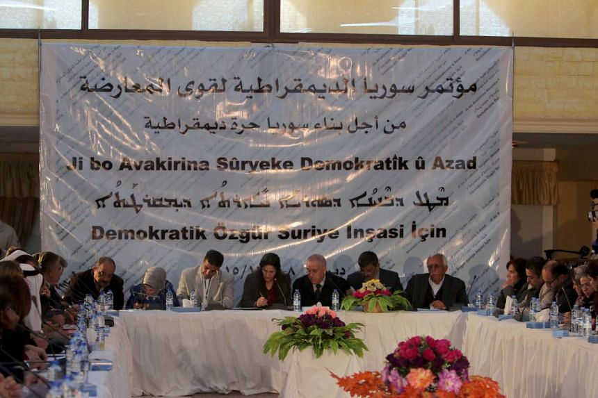 A conference held by the Democratic Forces of Syria in Qamishli, Syria on Dec 8, 2015.