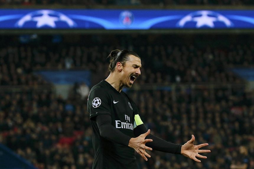 Zlatan Ibrahimovic reacts during the match between Paris St Germain and Shakhtar Donetsk.