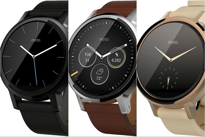 Second generation Moto 360 will go on sale from Dec 15. (From left) Moto 360 in black, cognac silver and rose gold.