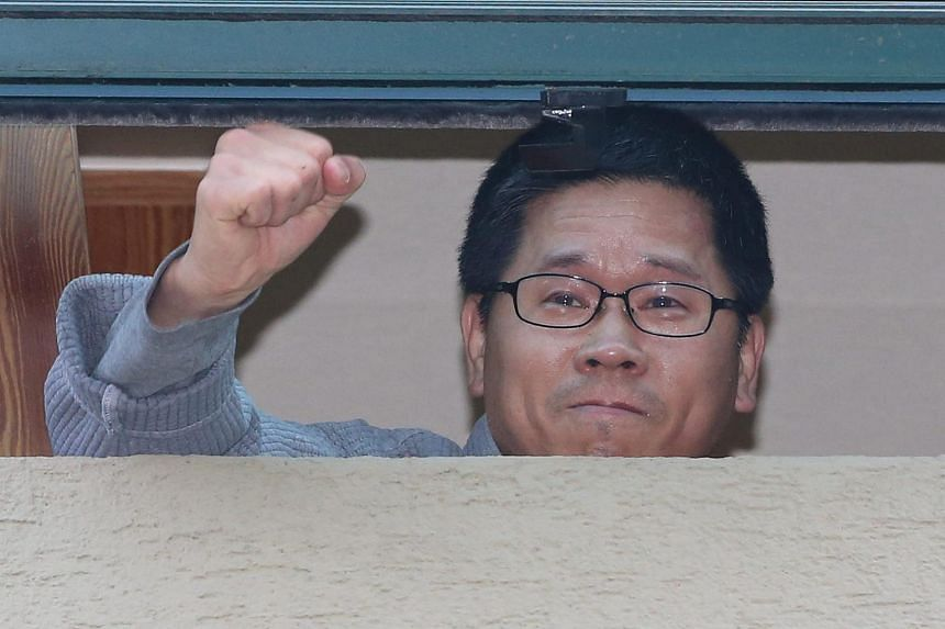 Activist Han Sang Gyun sought sanctuary in the Jogye Temple in downtown Seoul following a massive anti-government demonstration on Nov 14.