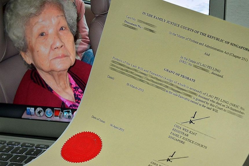 The grant of probate made in 1978 in which the three Chan sisters' grandfather left his Toa Payoh flat to Madam Lau Pei Ling (in background) after his death. Madam Lau died last October aged 93.