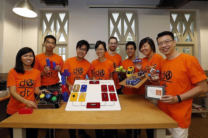 Engineering Good executive director Hannah Leong (fourth from left) with volunteers (from left) Yeap Pei Lee, 29; Chin Hui Han, 28; Yee Qing Xiang, 27; Simon Fauvel, 28; Ivan Sim Weixiang, 29; Jang Leong Chia, 34; and Ron Loh Weng Yee, 39. The volunt