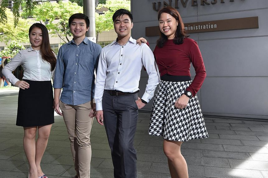 SMU students (from left) Zhang Qianruixue, 23; Nicholas Han, 23; Lee Teck Hui, 25; and Lee Jinq Yi, 24, took part in the school's Entrepreneurship Immersion Programme this year.