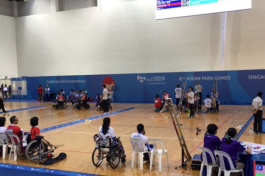 The scene at the BC3 mixed pair category game between Thailand and Singapore for the gold medal.
