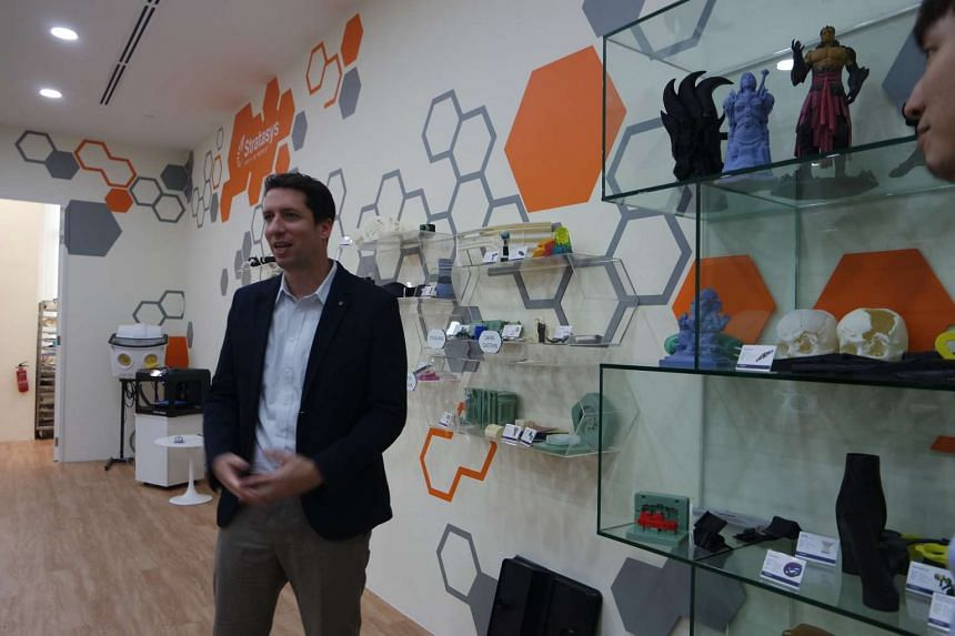 Mr Ido Eylon, general manager at Stratasys South Asia and Pacific, speaking at the Stratasys 3-D printing experience centre in Toa Payoh North.