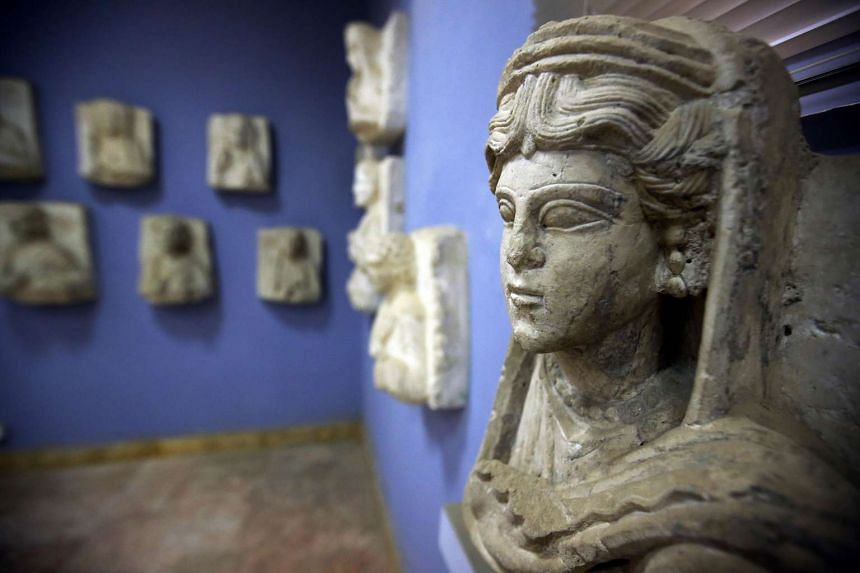 A file photo of a sculpture found in the ancient Syrian oasis city of Palmyra.