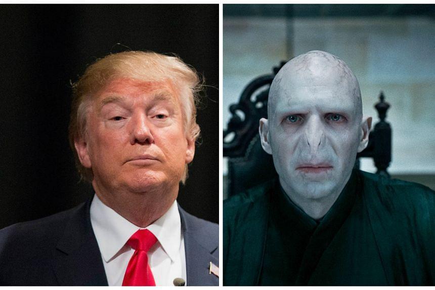 Donald Trump (left) and Harry Potter villain Voldemort.