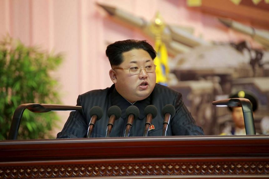 North Korean leader Kim Jong Un addresses the fourth conference of artillery personnel of the Korean People's Army.