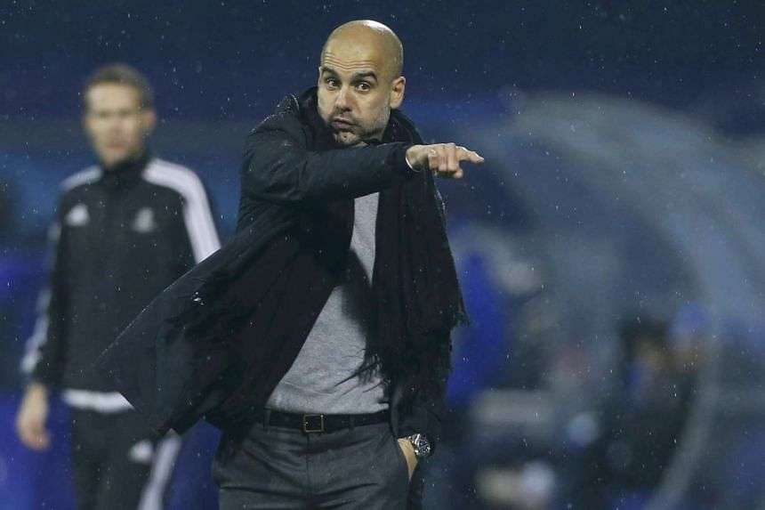 Bayern Munich coach Pep Guardiola gesturing during the Champions League match against Dinamo Zagreb on Dec 9, 2015.