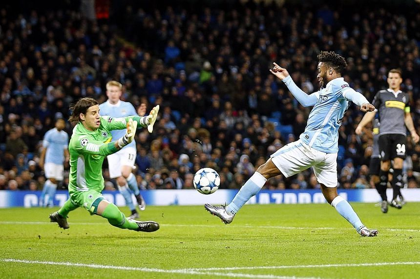 Raheem Sterling (right) scored twice in Man City's 4-2 Champions League win over German side Borussia Moenchengladbach on Tuesday.