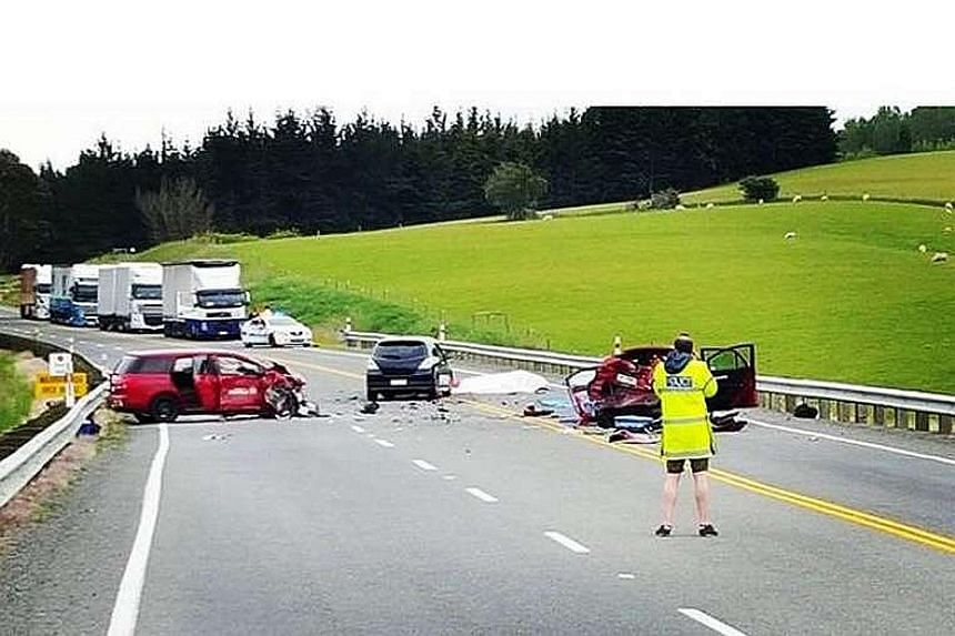 The scene of the accident along the state highway in North Otago, about 20km south of Oamaru, on Nov 29. The Singaporean's rented Toyota crashed into two cars and a motorcycle while trying to overtake a group of cars by allegedly crossing the double