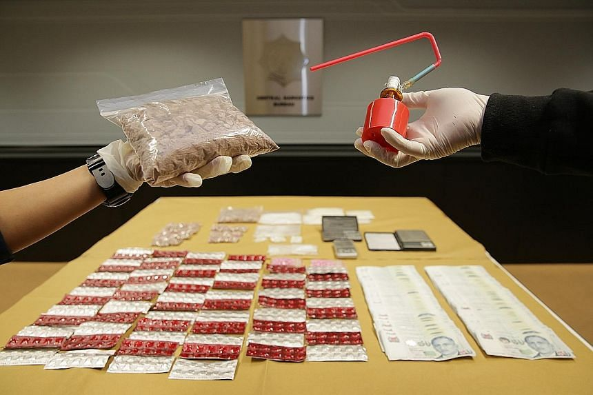 More than $103,000 worth of drugs were seized during the operation, including about 400g of Ice and ketamine, more than 900g of heroin, more than 800 Erimin-5 tablets and some 90 Ecstasy tablets. Digital weighing scales and drug-smoking apparatus wer
