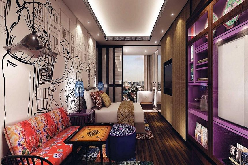 Left: An artist's impression of a room in Hotel Indigo Singapore Katong shows a black-and-white mural of a hat-wearing cyclist and his pillion rider, and a man making teh tarik. Mr Lee's original illustrations are in colour, and a Singapore Girl is p
