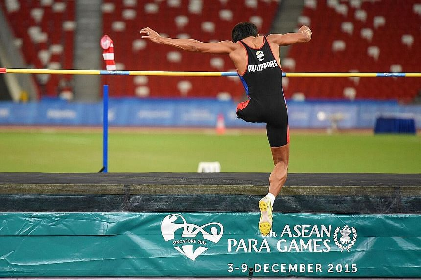 This competitor from the Philippines was the Everyman of the Asean Para Games, putting down his crutch before taking just four hops on one leg and somersaulting over the bar.